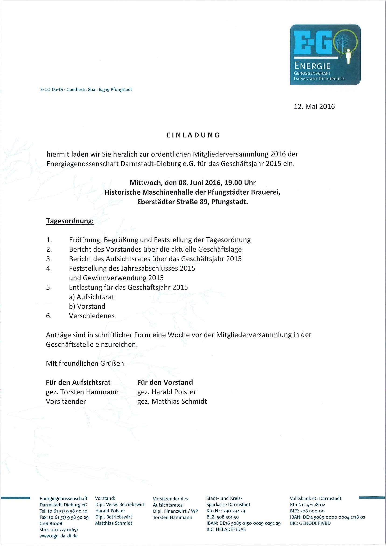 einladung zur mitgliederversammlung 2016 | energiegenossenschaft, Einladung